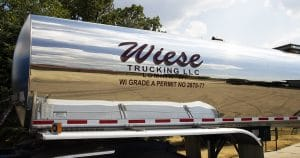 Semi trailer reflective lettering & graphics for Wiese Trucking Lomira, Wisconsin