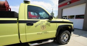 Chevy truck door gold leaf lettering for Sparta Area Fire Dept. Sparta, Wisconsin