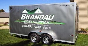 Cargo trailer lettering & graphics for Brandau Construction Kendall, Wisconsin