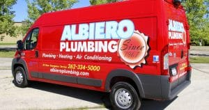 Dodge RAM sprinter van lettering & graphics for Albiero Plumbing West Bend, Wisconsin