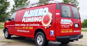 Chevy Express van lettering & graphics for Albiero Plumbing West Bend, Wisconsin