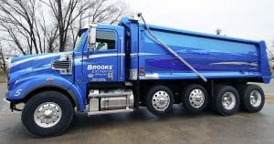 Freightliner dump truck lettering & graphics for Brooks Excavating Sparta, Wisconsin