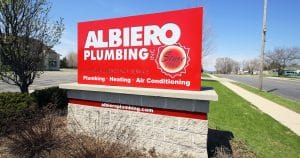 Ground mount electric monument sign for Albiero Plumbing Inc West Bend, Wisconsin