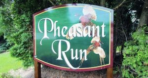 Ground mount sign for Pheasant Run Jackson, Wisconsin