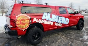 Dodge RAM truck lettering & graphics for Albiero Plumbing West Bend, Wisconsin