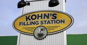 Building mount sign for Kohn's Filling Station Kewaskum, Wisconsin