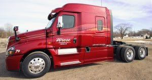 Freightliner Cascadia truck lettering & graphics for Wiese Trucking Lomira, Wisconsin