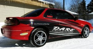 Pontiac Grand Am vehicle wrap for DARE program Fond du Lac, Wisconsin