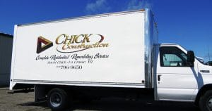 Box truck lettering for Chick Construction La Crosse, Wisconsin
