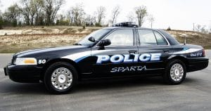 Ford crown victoria police car graphics for Sparta Police Sparta, Wisconsin