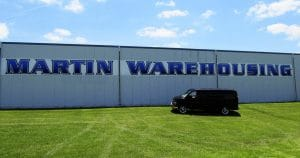 Building mount sign for Martin Warehousing Wilton, Wisconsin