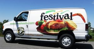 Ford van lettering & graphics for Festival Foods Eau Claire, Wisconsin