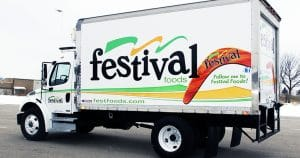Box truck lettering & graphics for Festival Foods DePere, Wisconsin