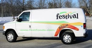 Ford van lettering & graphics for Festival Foods Appleton, Wisconsin