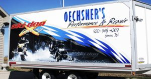 Snowmobile trailer wrap for Oechsner Performance Lomira, Wisconsin