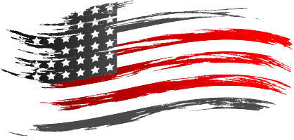 Stylized American flag. Graphics made in Cedarburg, WI 53040.