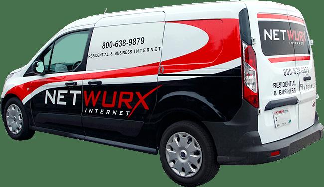 Netwurx Internet vinyl van graphics (North Lake, WI).