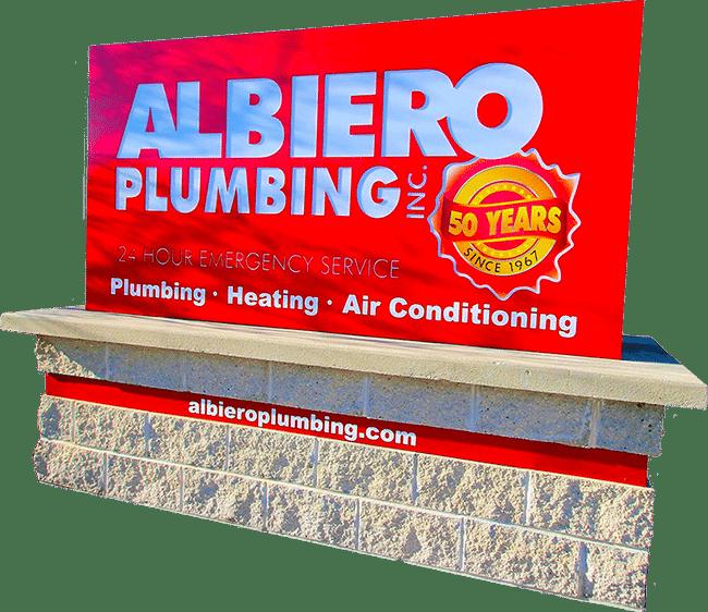 Albiero Plumbing outside sign in West Bend, WI.