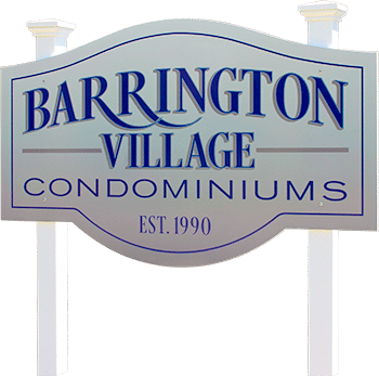 Barrington Village Condos outside sign in West Bend, WI.