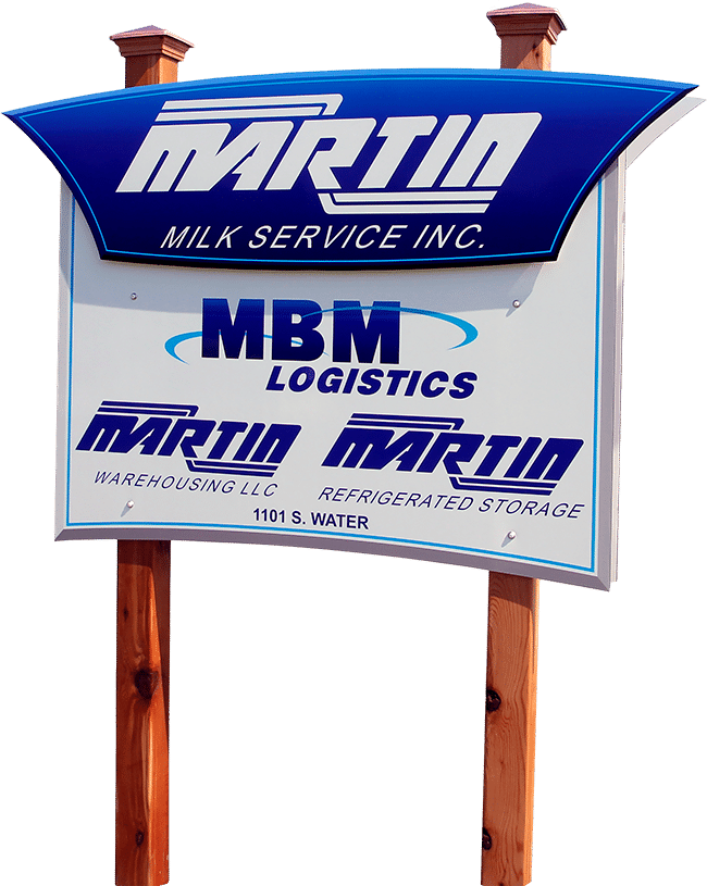 Martin Milk Service Inc. business sign in Wilton, WI.