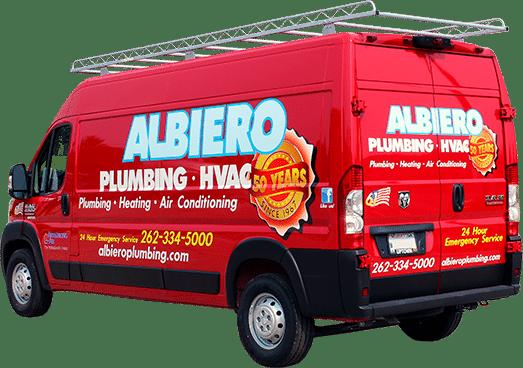 Albiero Plumbing vinyl van lettering (West Bend, Wisconsin).