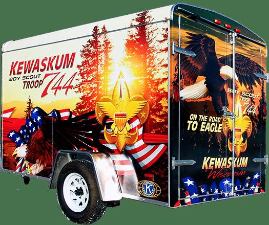 Kewauskum, WI Boy Scout Troop 744 vinyl trailer wrap.