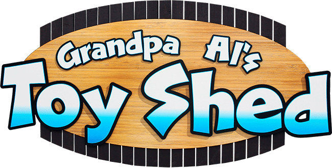 Grandpa Al's Toy Shed exterior sign.
