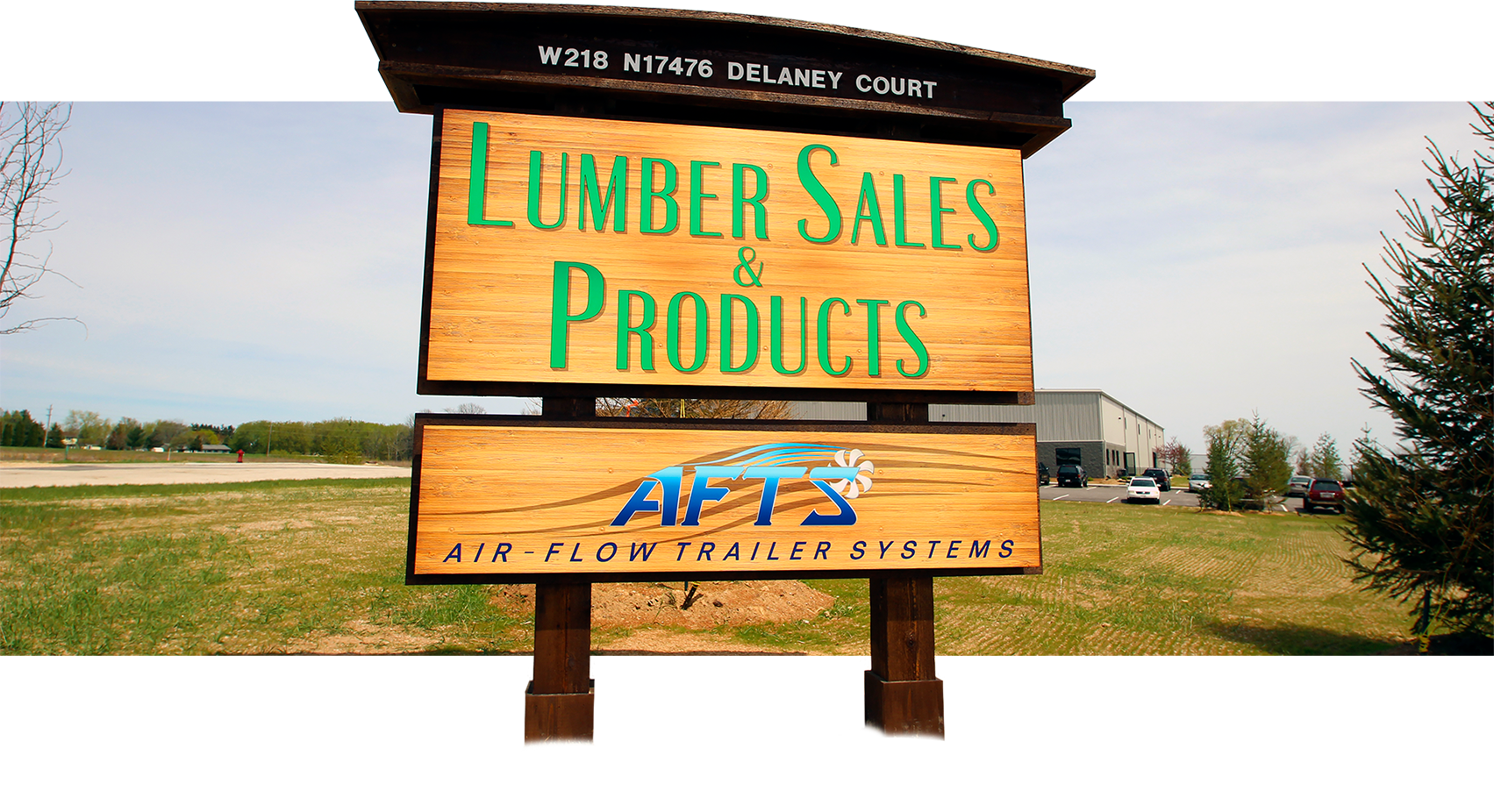 Lumber Sales & Products commercial exterior wood sign (Jackson, WI).