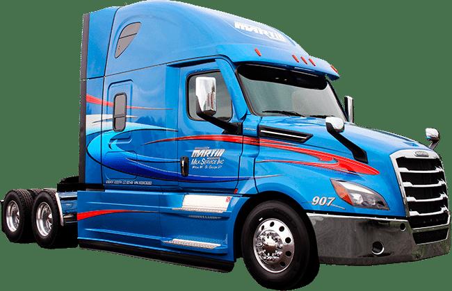 Martin Milk Service Inc. semi truck lettering (Wilton, WI).