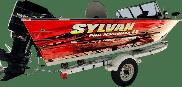 Sylvan Pro Fisherman 17 vinyl boat wrap.