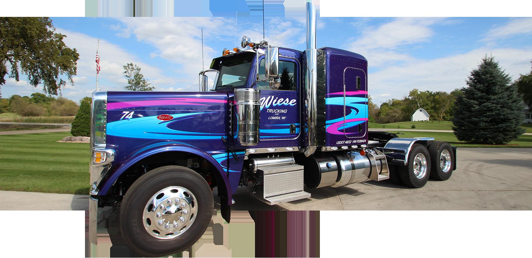 Wiese Trucking LLC vinyl semi truck lettering (Lomira, WI).